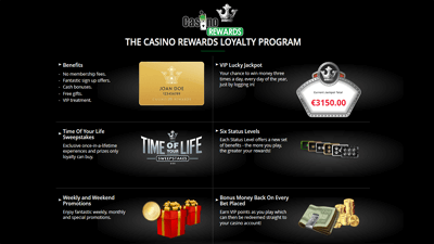 Casino Rewards website - loyaly program benefits