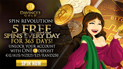 DaVinci's Gold five free spins everyday promotion