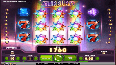 Starburst slot winning screenshot