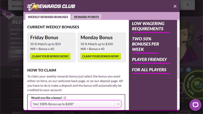 SlotJoint's current Rewards Club offers