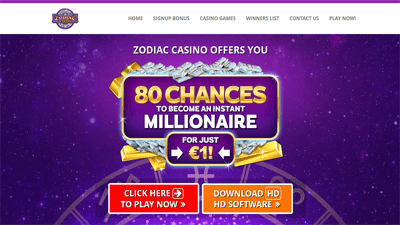 Zodiac Casino homepage