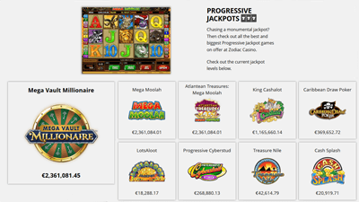 Selection of Microgaming progressive jackpot games at Zodiac